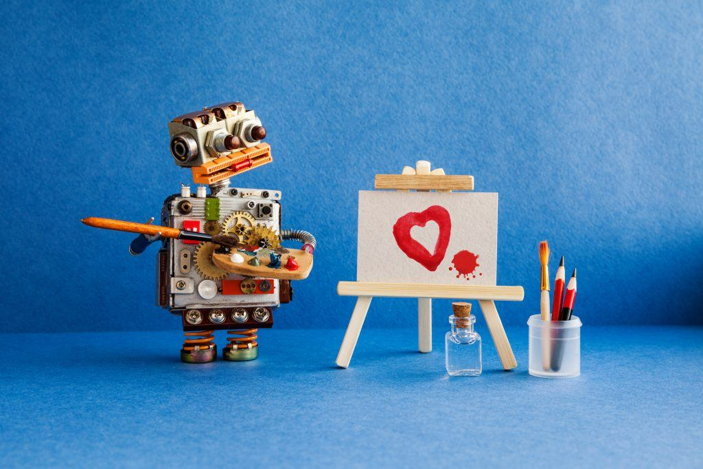 Robot painting loyalty and love for customer